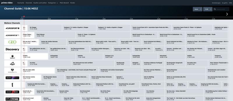 Amazon Prime Video Channels Guide Live-TV