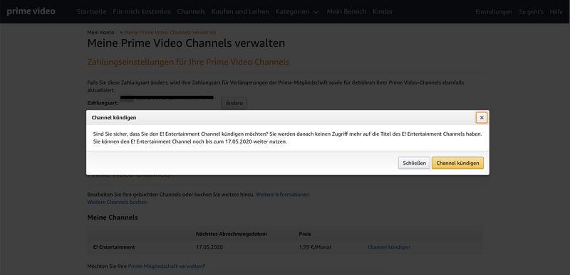 amazon channels channel kündigung e! entertainment